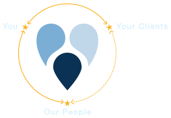 A gold circle with the URL heart logo in the middle, representing the relationship between You, Your Clients, and Our People.