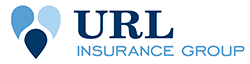 URL Insurance Group logo, three tear drop shapes that form a heart with the words URL Insurance Group.